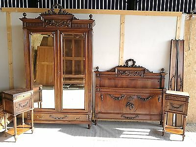 Beautiful Antique French Carved Bedroom Suite 5Ft Wide Bed