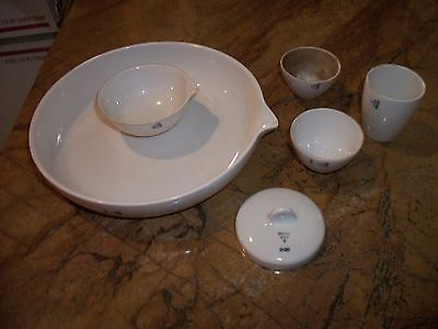 """Vintage Industrial Chic Coors Pottery Lot USA 16"""" Mixing Bowl w Pour Spout more"""