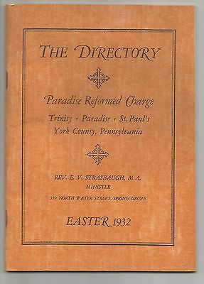 Vintage The Directory, Paradise Reformed Charge, Spring Grove - Penn - 1932