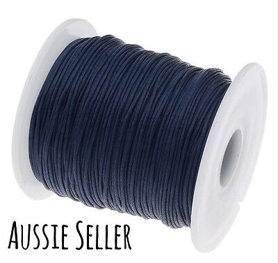 10m NAVY BLUE 1mm waxed cord gift wrapping DIY jewellery for shamballa beading