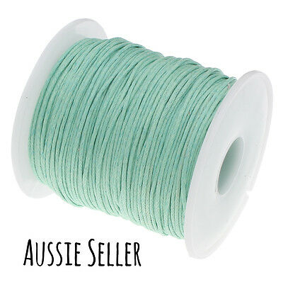 10m MINT GREEN 1mm waxed cord gift wrapping DIY jewellery for shamballa beading