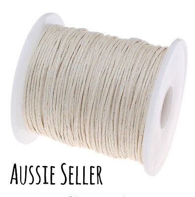 10m BEIGE 1mm waxed cord gift wrapping DIY jewellery for shamballa beading cream
