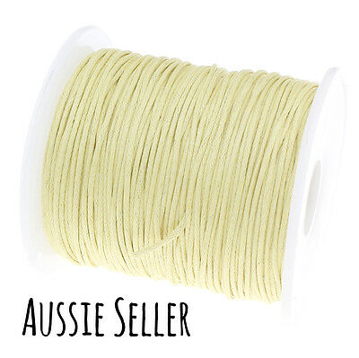 10m BUTTERY YELLOW 1mm waxed cord gift wrapping DIY beading bracelet jewellery