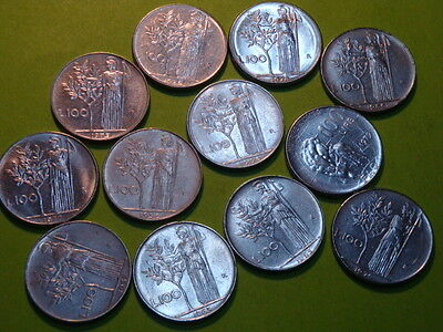 Italy 100 Lire 12 Different Coins P1 Aprf