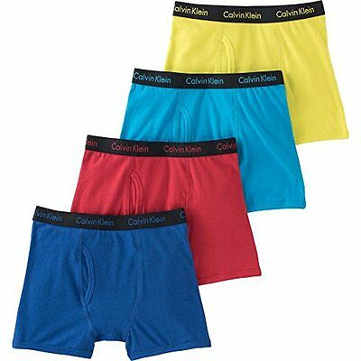 Calvin Klein Boys Cotton Stretch Boxer Brief, 4 pack, Choose Size M or L
