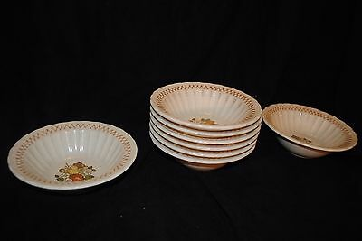 Vernon Ware by Metlox Rimmed Cereal Bowls in the Fruit Basket Pattern