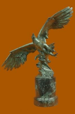 Bronze Sculpture Signed Extra Large American Eagle Gree Statue Figurine EX