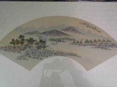 ANTIQUE CHINESE FAN PAINTING on PAPER, ARTIST SIGNED