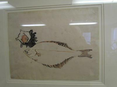 ANTIQUE JAPANESE WATERCOLOR OF A FISH attributed to KATSUSHIKA HOKUSAI