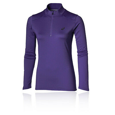 Asics Essentials Womens Purple Half Zip Long Sleeve Winter Warm Running Top