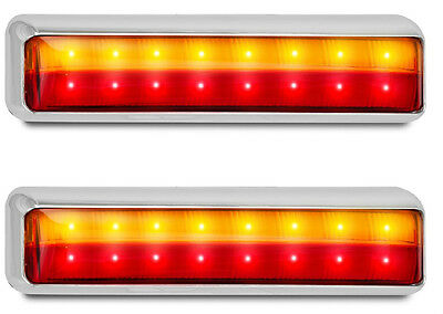 Trailer X 2 Stop/tail/ Indicator  Lamp Chrome 12 Volt 201 Series Led Autolamps