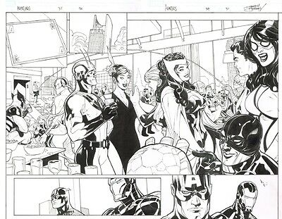 Terry Dodson Avengers 34 Page 30 and 31 DPS Double Page Spread Spider-Man Marvel