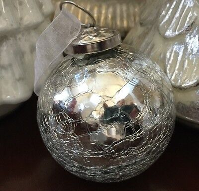New Kugel Vintage Style Glass Crackle Frosted Silver Christmas Ornaments Set 6