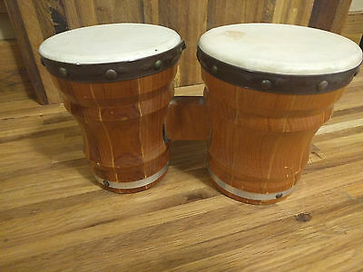 "Vintage Wood Double BONGOS Small Size between your knees Hollow 6"" Tall 12"" Wide"