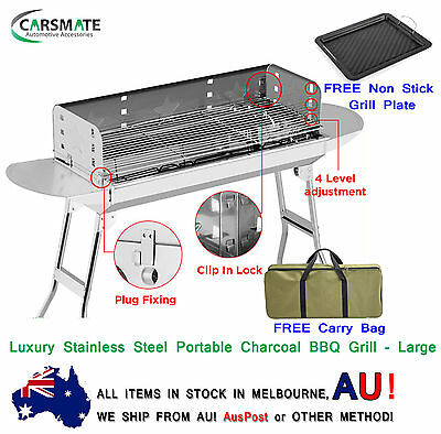 Large Luxury Stainless Steel Portable Camping Picnic Outdoor Charcoal BBQ Grill
