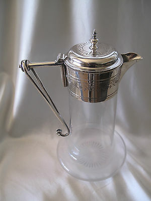 VICTORIAN 1880`s FRENCH SOLID SILVER MOUNTED CLARET JUG