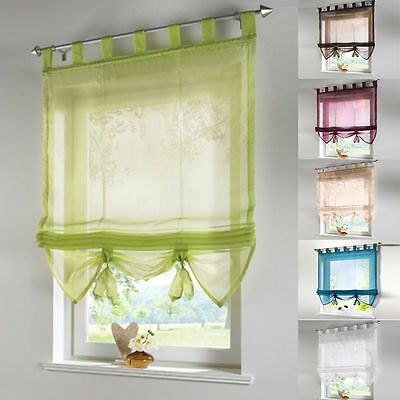 1pc Liftable Roman Curtain Balcony Windows Room Voile Curtains Sheer Panel