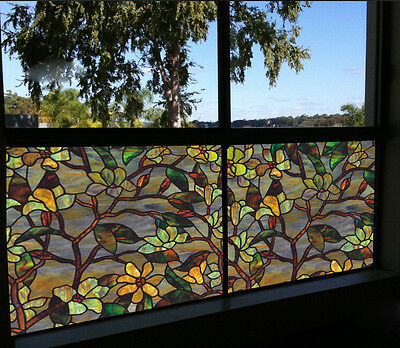 Privacy Static Cling Cover Stained Flower Window Glass Film Home Decor50*92cm