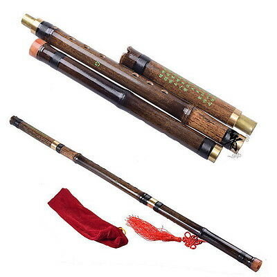 Chinese Musical Instrument Old Black Bamboo Vertical Flute Xiao 8 Hole G/F Key O