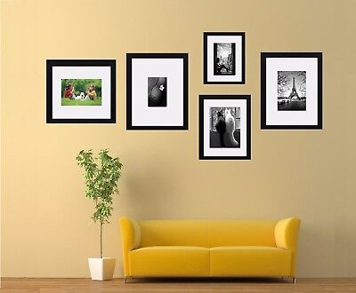 5 Piece Multi Picture Photo Frame With White Mount Collage Wall Hanging Frame