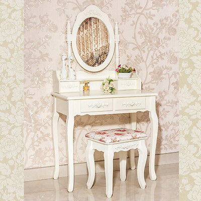 Shabby Chic Dressing Table 4 Drawers Oval Mirror Bedroom Makeup Desk + Stool Set