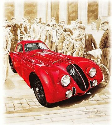 Lithographie Lithography Affiche Poster Bruere Alfa Romeo 2900 8C ★1938★