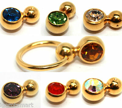 1 Pc Surgical Steel Gold Double Captive Bead Ring Replacement Bar Barbell Balls