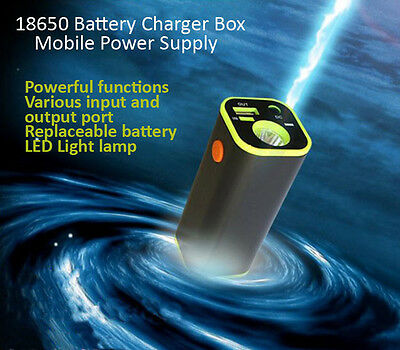 USB 4*18650 Batteries Power Bank Flashlight Torch LED Battery Charger Box For iP