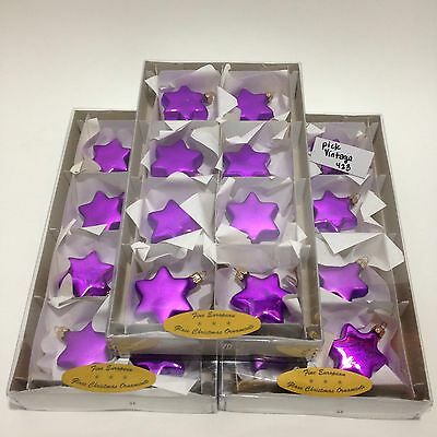 Vintage Poland European Glass Celestial Christmas 24 Ornaments Purple Star VGC