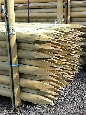 2.4m x 75mm  MACHINE ROUND POINTED GARDEN TIMBER FENCE POST TREE STAKES