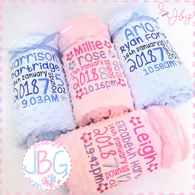 Personalised Baby Blanket Shawl Birth Block Embroidered Christening Birth Gift