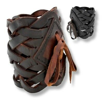 Braided Leather Bracelet. Black Or Brown. Accessory For LARP & Re-enenactment