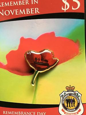 Remembrance Day Poppy with Soldiers Lapel Pin* New* ANZAC Day* Enamalled Badge