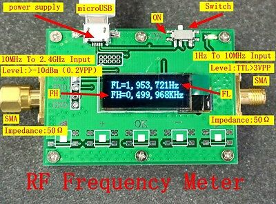High precision OLED display 1Hz-2.4GHz Radio frequency meter FH FL measurement