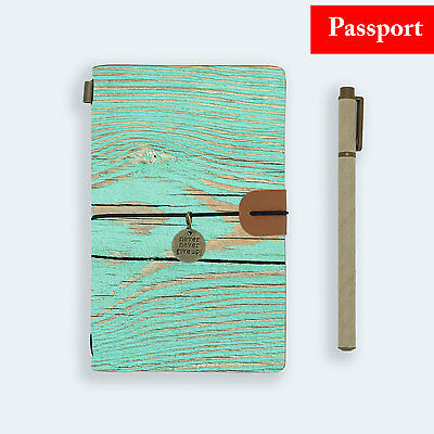 Genuine Leather Journal Travel Diary Travelers Passport Size Green Wood