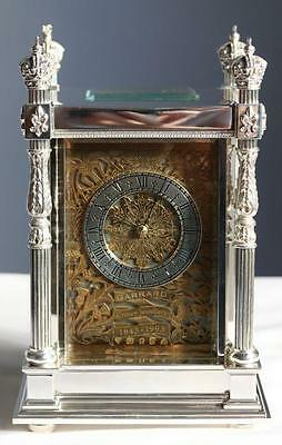 Garrard Solid Silver Double Fusee Carriage Clock