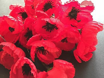 Silk Remembrance Day* Memorial Day Poppy Lapel Pin Small 40mmx60mm