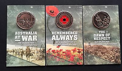 Set of 3 Commemorative Pennies - Dawn of Respect, Western Front & Poppy