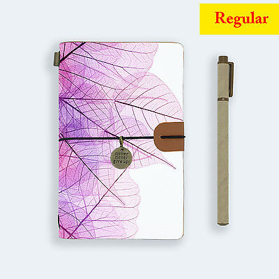 Genuine Leather Journal Travel Diary Travelers Regular Size Purple Leaves