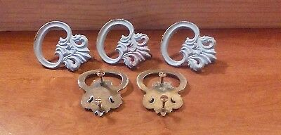 set of 5 antique dresser drawer pulls vintage victorian