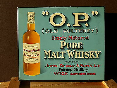 ★ O.P. OLD PULTENEY ★ ORIGINAL BLECHSCHILD ca. 1950 ★ METAL SIGN ★ MALT WHISKY