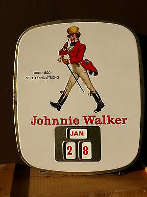 ★ JOHNNIE WALKER ★ ORIGINAL METALL KALENDER ca. 1950 ★ METAL CALENDAR ★ WHISKY