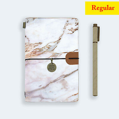 Genuine Leather Journal Travel Diary Travelers Regular Size Marble Gemstone
