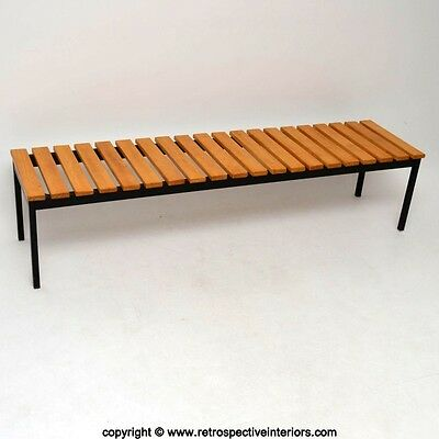 RETRO SLATTED BENCH / COFFEE TABLE VINTAGE 1950's