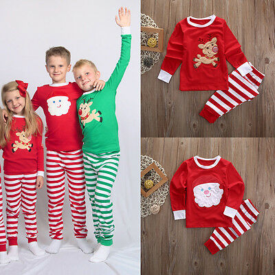 Christmas Kids Baby Cute Family Pajamas Set Sleepwear Nightwear Pyjamas Costume