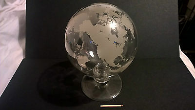 Vintage rare mid century glass etched Earth globe map with standing foot EXC