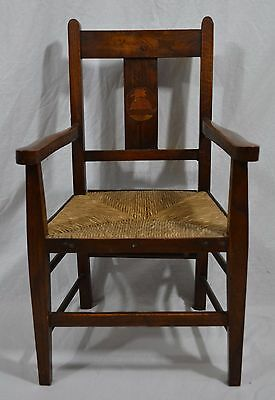 ANTIQUE LIBERTY & CO ARTS & CRAFTS OAK NURSERY RHYME CHILD'S ARMCHAIR c.1905
