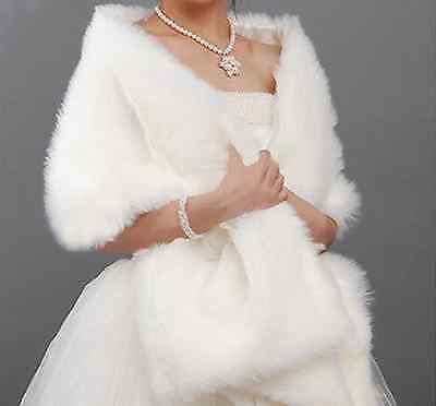 New White ivory Red Faux Fur Jacket Wrap Shrug Bolero Shawl Cape Bridal Wedding