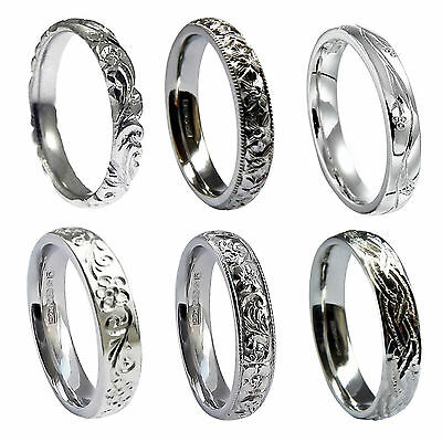 5mm Vintage Hand Engraved Wedding Rings Sterling Silver Court Comfort 925 HM New