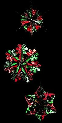 Set Of 3 Foil Hanging Christmas Decorations Star Snowflake 40cm Green & Red